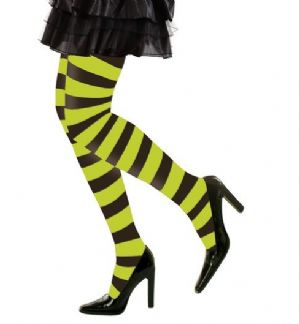 Black/Green Striped Tights - Plus Size